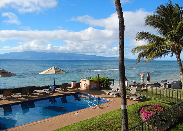 Views from our lanai of Molokai'i and maybe a whale sighting offshore