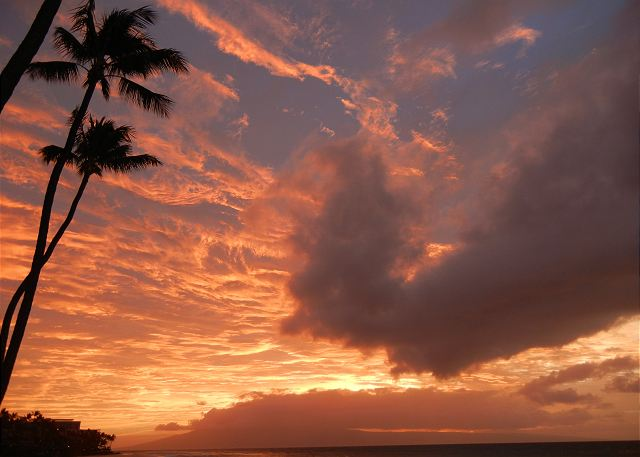 Vibrant sky from our lanai looking southwest towards Lanai