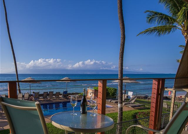 Relax with amazing ocean views, day or night!  Afternoon view of Molokai.