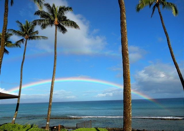 Beautiful double rainbow from our lanai - so close you can almost touch them
