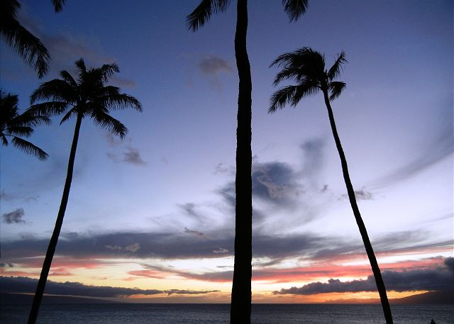 Stunning sunsets from our lanai across the islands of Lanai and Molokai