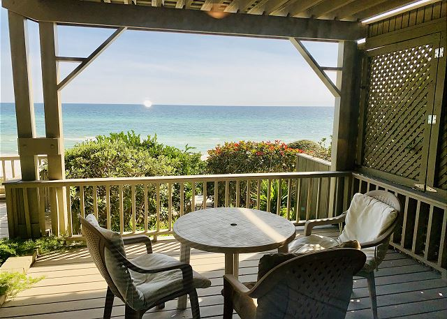 Enjoy breakfast while watching the dolphins play in the surf!