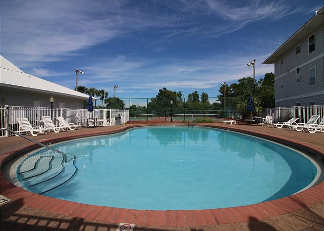 Pool by Office, tennis courts, shuffelboard and cornhole.