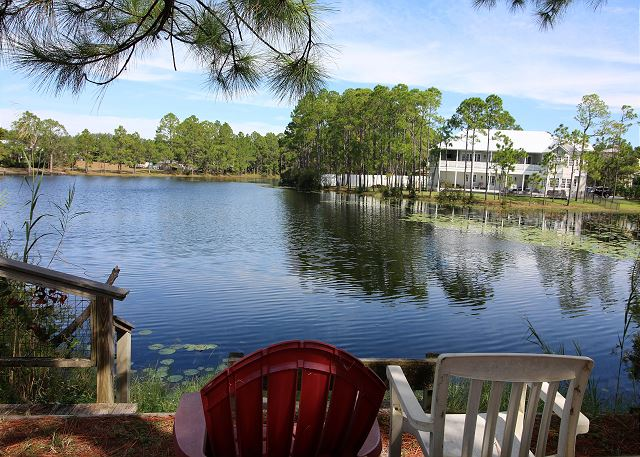 Behind the condo: Lake with overlook deck and seating.
