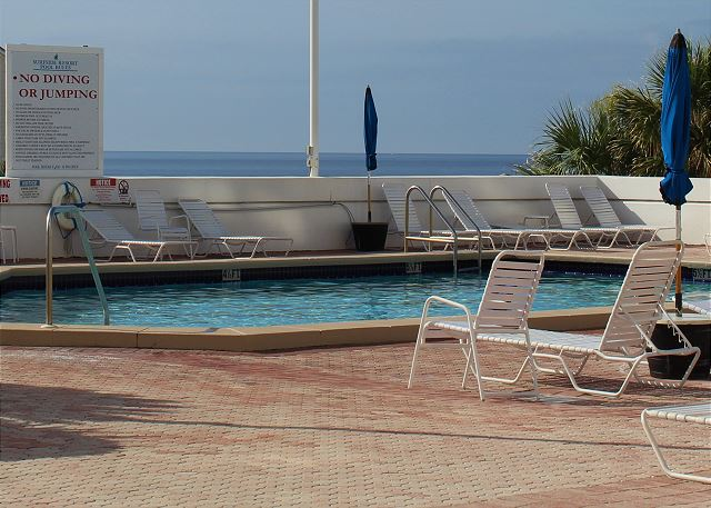 Community Pool with Deck overlooking the Gulf