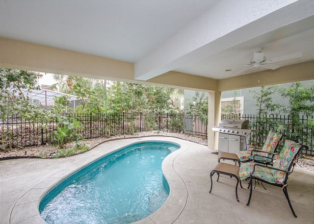 Pool Area with Propane Grill and Seating Area