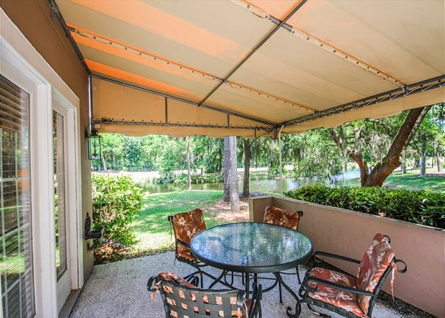 Evian 288, 3 Bedrooms, Golf & Lagoon View, Sleeps 8 - Patio - HiltonHeadRentals.com