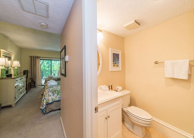 Village House 107, 2 Bedrooms, Pet Friendly, Pool, Sleeps 7 - Master Bathroom - HiltonHeadRentals.com