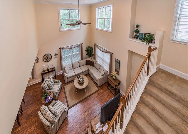 Crabline Court 32, Luxury 5 Bedrooms, Private Pool, Sleeps 12 - View from the staircase - HiltonHeadRentals.com