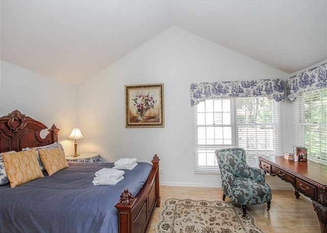 Evian 123, 2 Bedrooms, Lagoon View, Pool, Sleeps 6 - Master Bedroom - HiltonHeadRentals.com