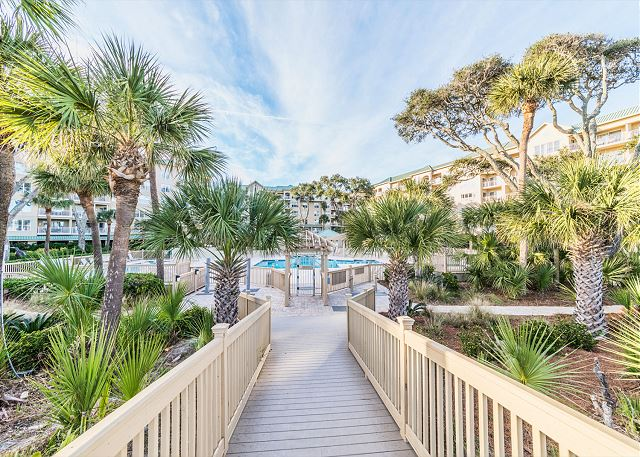 Hampton 6107, 2 Bedroom, Oceanfront View, Large Pool, Sleeps 6 - Walk Way  - HiltonHeadRentals.com