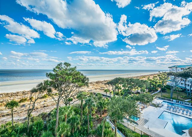 Hampton 6508, 3 Bedroom, Ocean Front View, Ocean Pool & Hot Tub - Pretty Blue Skies - HiltonHeadRentals.com
