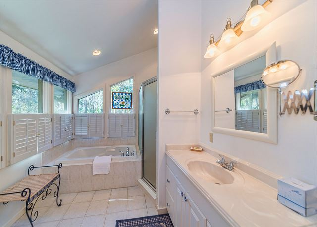 Hickory Lane 1, 6 Bedroom, Private Pool, Near Beach, Sleep 21 - Master Bath  - HiltonHeadRentals.com