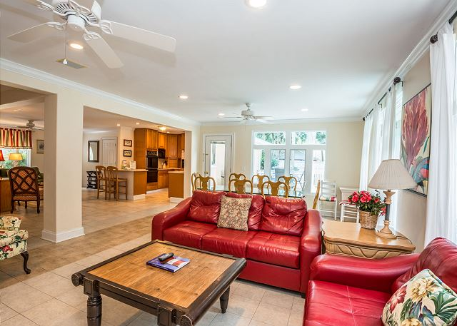 Myrtle Lane 1, 5 Bedroom, Private Heated Pool & Spa, Sleeps 12 - One of the living areas - HiltonHeadRentals.com