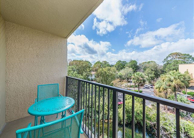 Xanadu 19-A, 2 Bedroom, Large Pool, Walk to Beach, Sleeps 8 - Imagine yourself out on the balcony - HiltonHeadRentals.com