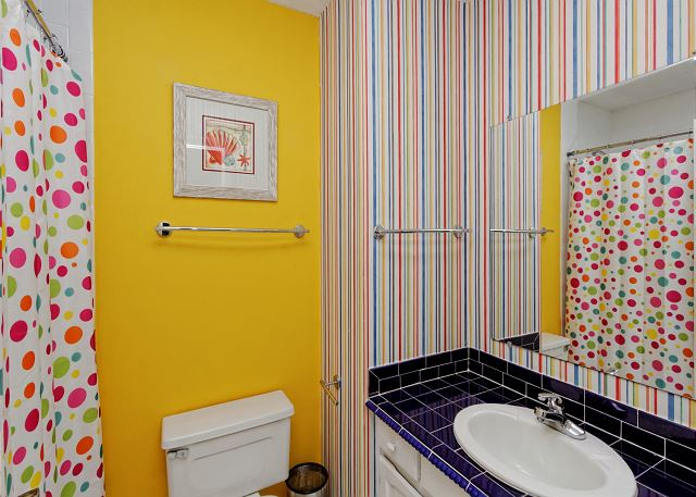 Bright colored bathrooms