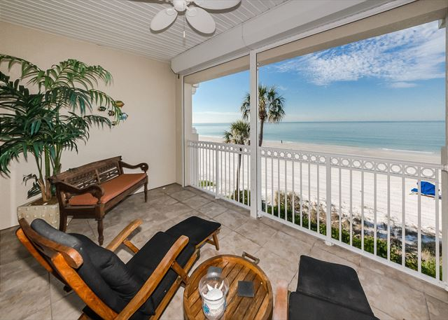 All part of the Master Suite this private terrace overlooks an amazing beach and water view! Perfect for morning coffee!