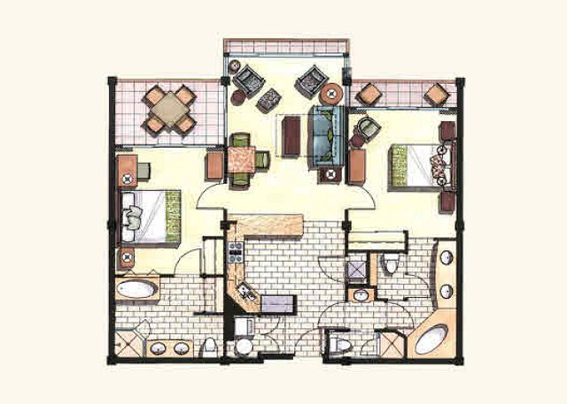 Add 8ft in length to each room.  D104 is the largest Waipouli floor plan