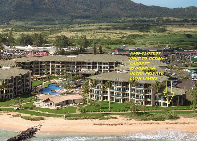 Waipouli A107  LARGE suite closest BEACH FRONT 370