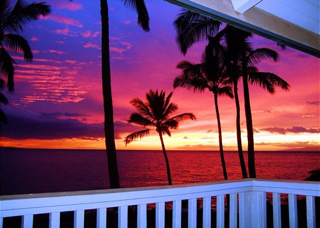 Magnificent sunsets can be seen from the lanai year round.
