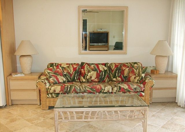 Tiled Living Area With Sofa Bed for Additional Guests