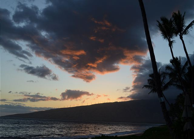 Sunset on the beach in front of Kihei Kai