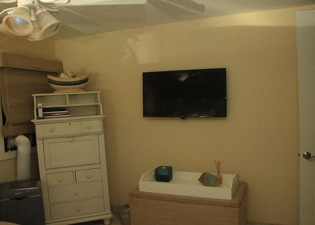 Flat-screen TV and secretary/storage check in second bedroom