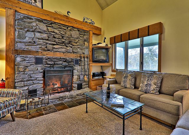 Large fieldstone fireplace to keep you warm even during Vermont's coldest days