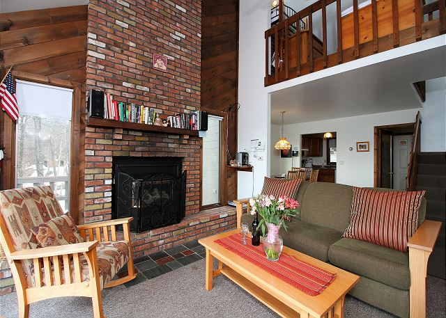 <center>Large brick wood burning fireplace to keep you nice and warm even during the coldest of days<center>