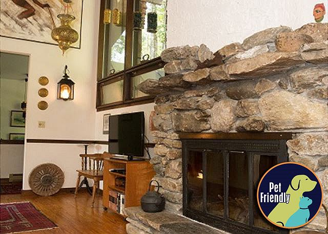 <center>Wood burning field-stone fireplace to keep you warm even on the coldest days<center>