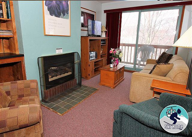 <center>Beautiful warm and cozy living room with gas fireplace<center>