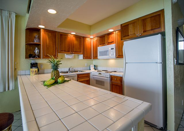 Lovely kitchen with all the amenities needed to cook or BBQ outdoors.