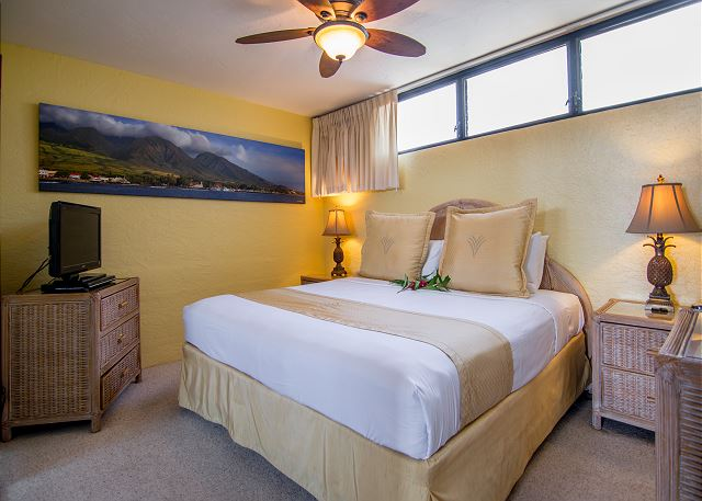 Nice king size bed with flat screen TV.