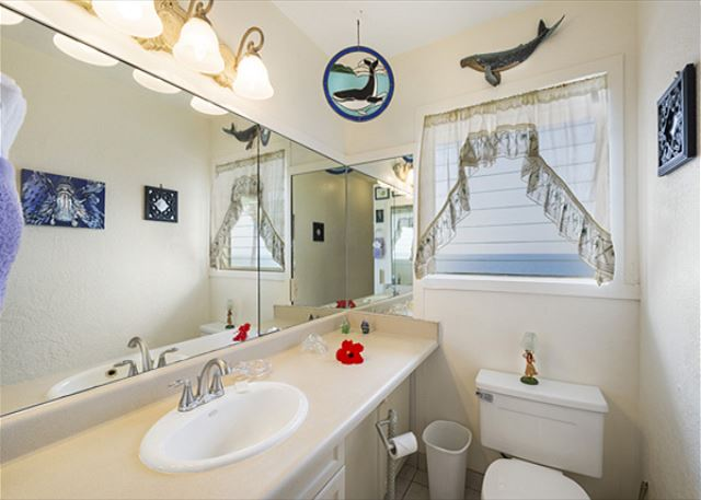 Upstairs bathroom with ocean view! Tub/Shower Combo
