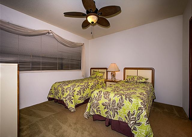 2nd bedroom features 2 twins! They can be pushed together to be a King if need be!
