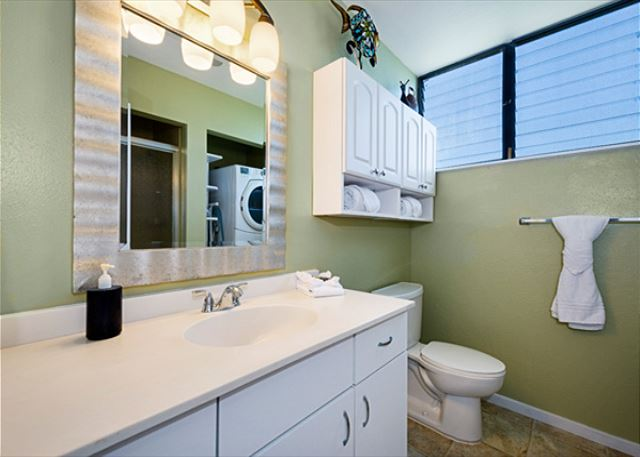 Every room has it's own bathroom!  3 bedrooms, 3 bathrooms! This is one of the downstairs bathrooms.