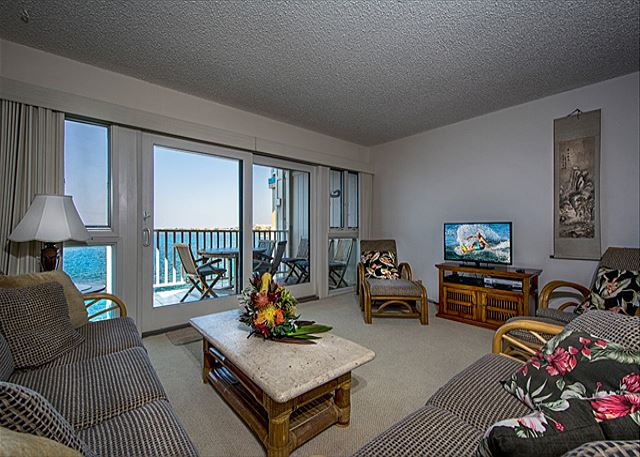 Another beautiful shot of the living room! DIRECT oceanfront, as you can see!