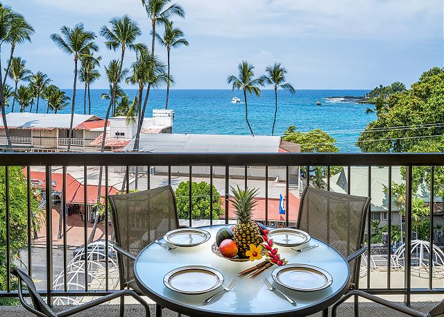 Kona Plaza#402 TOP FLOOR OCEAN VIEW IN HEART OF KONA TOWN! AC & Elevators!