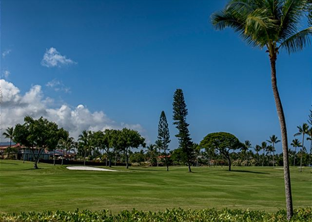The gorgeous golf course that sits directly behind the Keauhou Kona Surf & Racquet Club Complex