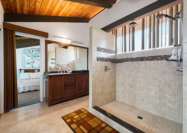Master bathroom in Loft upstairs features walk in shower.