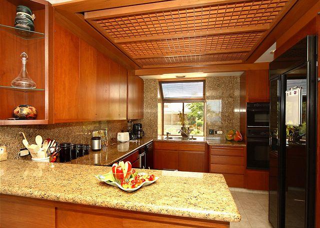 Deluxe kitchen with views of the Kohala Mountains