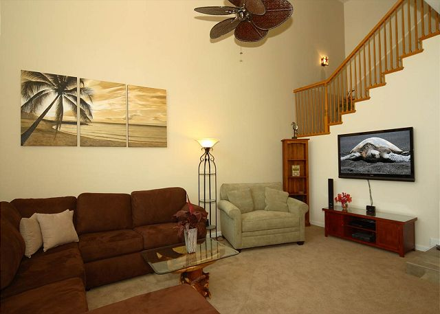 Enjoy putting up your feet in this comfortable living room with a single pull out bed with real mattress! Flat screen computer with internet.