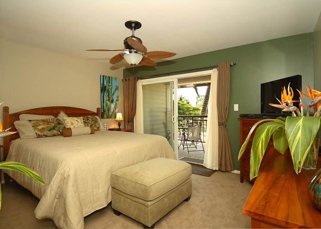 Master Bedroom with private lanai and flat screen tv
