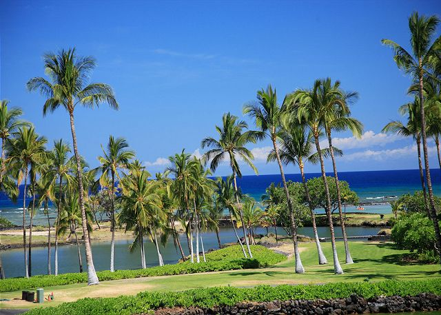 Ancient Hawaiian fishponds with a walking path to the Private Mauna Lani Beach club and restaraunt