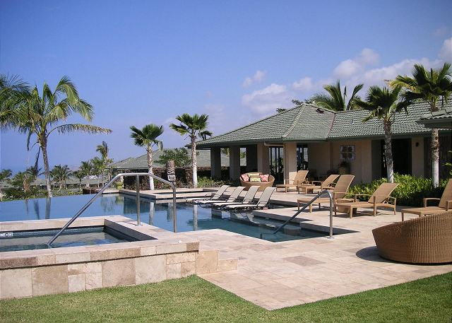 Amenity and workout center with infinity pool and spa - just steps away