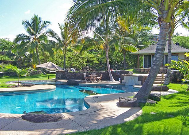 Spacious yard and pool area