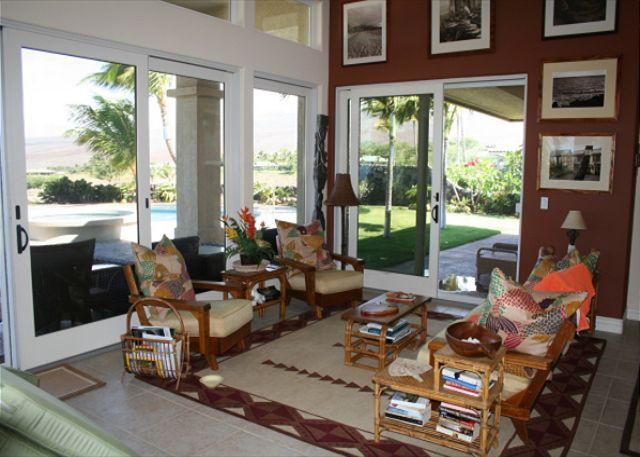 Living Room opens to spacious Lanai's