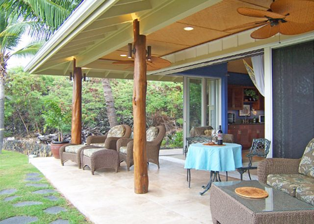 Comfortable lanai for relaxing and dining