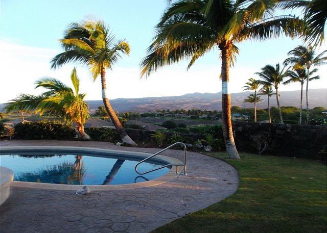 View swimming pool to mountain