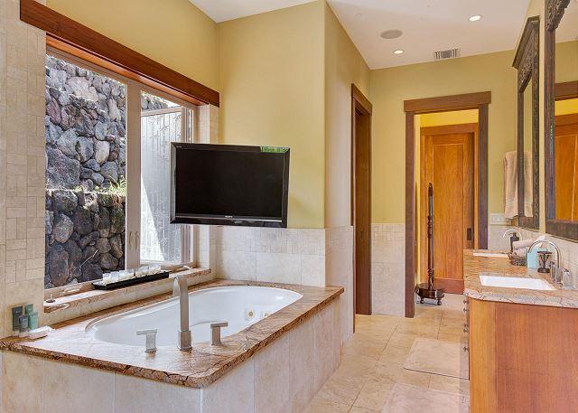 Master Bathroom with Soaking Tub and Flat Screen TV